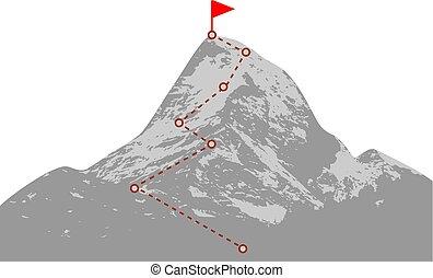 Mountain peak with route