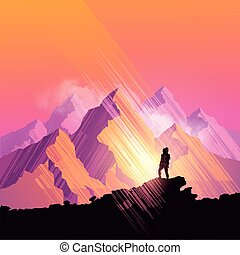 Mountain Peaks - A woman hiking through a scenic mountain...