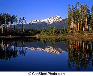 Lake Dillon - Mountain peaks and trees reflecting in Lake ...