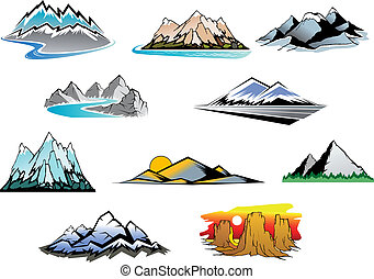 Mountain peaks - Set of mountain symbols for majestic design