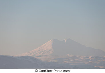 Mountain peaks covered with snow