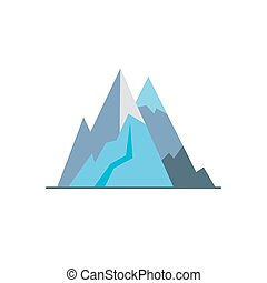 Mountain peaks icon in flat style. High rock symbol isolated...