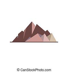 Mountain peaks icon in flat style. High rocks symbol...