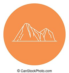Mountain peaks icon in thin line style