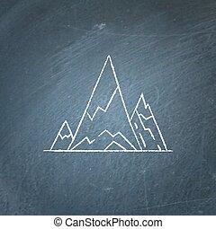 Mountain peaks icon on chalkboard
