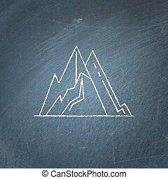 Mountain peaks icon on chalkboard. Outline rock symbol -...