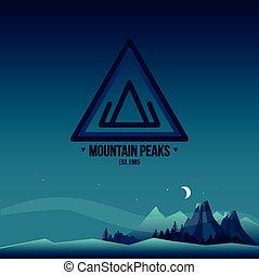 Mountain Peaks. Logo and Landscape Illustration.