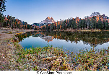 Mountain Peaks Reflection in Lake