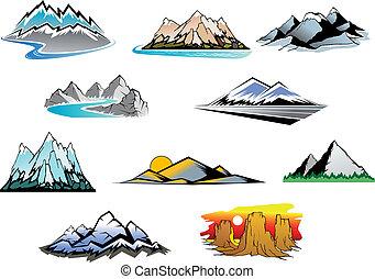 Mountain peaks - Set of mountain symbols for majestic design