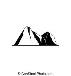 Mountain peaks silhouette icon in flat style. Rocks symbol...