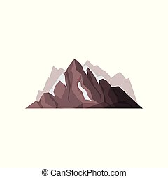 Mountain peaks with snow ice tops, outdoor design element, nature landscape, mountainous geology vector Illustration