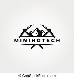 mountain pickaxe cross vintage logo vector symbol illustration design