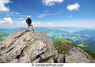 mountain., pico, homem