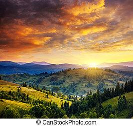 mountain - Beautiful green hills at dusk. Dramatic overcast...