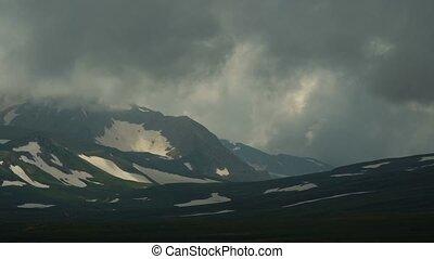 Mountain plateau Lago-Naki in cloudy weather. Timelapse.