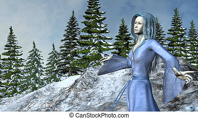 Mountain Princess Elf in Waving Blue Dress