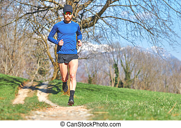 Mountain race athlete during a workout