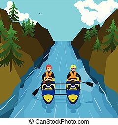 Mountain rafting concept background, flat style