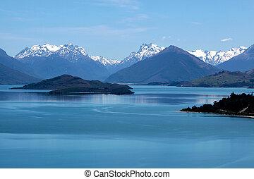 Mountain range and Lake Wakatipu between Queentown and...