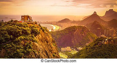 Sugarloaf Mountain - Mountain range at dusk, Sugarloaf...