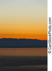 Mountain Range at Sunset Silhouette