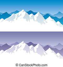 Mountain Range - Background with snowy mountain range in 2 ...
