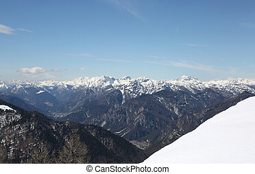 Mountain range from Lussari Mount in Italy - Mountain range...