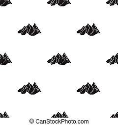 Mountain range icon in black style isolated on white background. Ski resort pattern stock vector illustration.