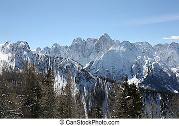 mountain range in Northern Italy in winter