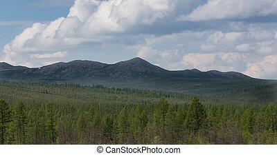 Mountain range in South Yakutia, Russia in good weather