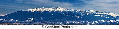 Mountain range in winter, Bucegi Mountains, Romania