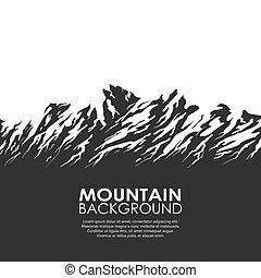 Mountain range isolated on white background. Black and white...