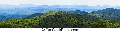 Mountain range landscape - View of woody mountain range ...