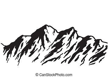 mountain range - Mountain range isolated on white.