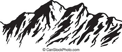 Mountain range isolated on white. Vector illustration.