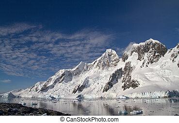 mountain range on one of the islands near the Antarctic Peninsul