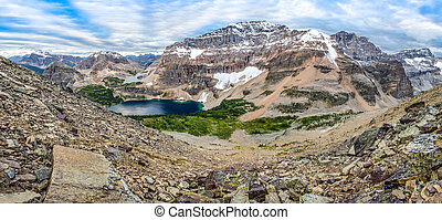 Mountain range panorama with lake in Banff national park, Canada