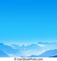 Mountain range - Peaks of the mountain range in winter, Alps...