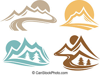 Mountain range symbol collection.