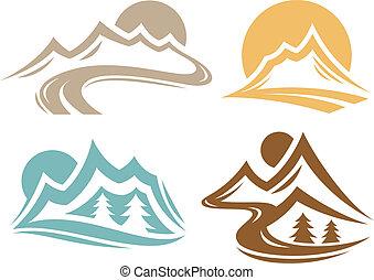 Mountain range symbol collection.