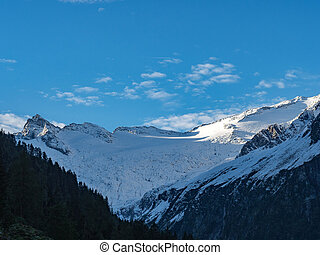 Mountain range view and blue sky