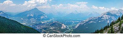Mountain Range View From Sulphur Mountain in Banff, Alberta, Canada
