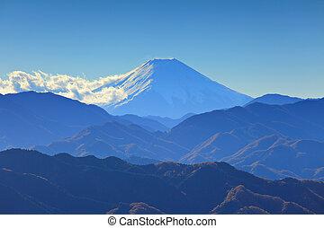 Mountain range with fuji