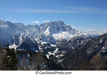 mountain range with snow in Northern Italy in winter -...