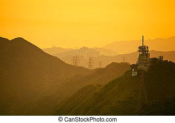 Mountain range with sunset