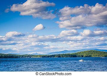 Mountain ranges and Lake Winnipesaukee in Weirs Beach, ...