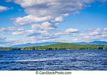 Mountain ranges and Lake Winnipesaukee in Weirs Beach, Laconia, New Hampshire.