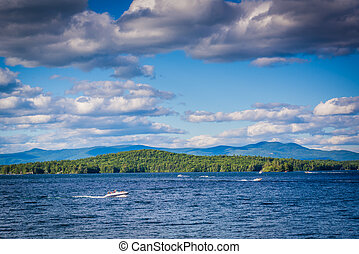 Mountain ranges and Lake Winnipesaukee in Weirs Beach, Laconia, New Hampshire