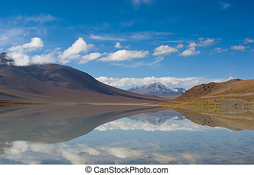 mountain, reflecting in the lake, bolivia
