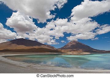mountain, reflecting in the lake, laguna verde, bolivia